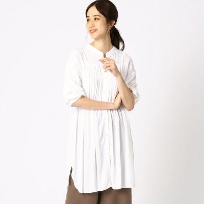 コムサイズム COMME CA ISM レーヨン ローン シャーリング ロングシャツ (ホワイト)