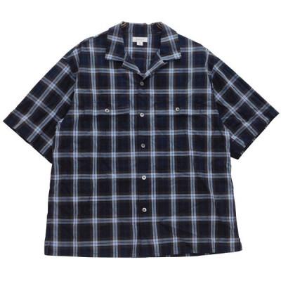 tone OPEN COLLAR CHECK SHIRT 19SS 半袖シャツ ネイビー ブラウン サイズ:3 (東心斎橋店) 200701