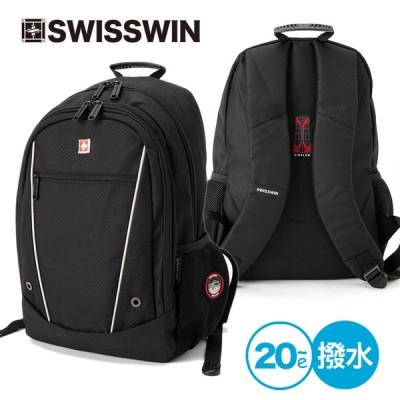 SWISSWIN リュック メンズバッグ リュックサック 通勤 通学 大容量 PC スポーツ ナイロン ファスナー フロントポケット 30L 小物収納  撥水 黒 sw8110セール