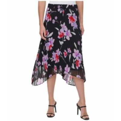 カルバンクライン レディース スカート ボトムス Printed Skirt w/ Pleats Black Wisteria Multi