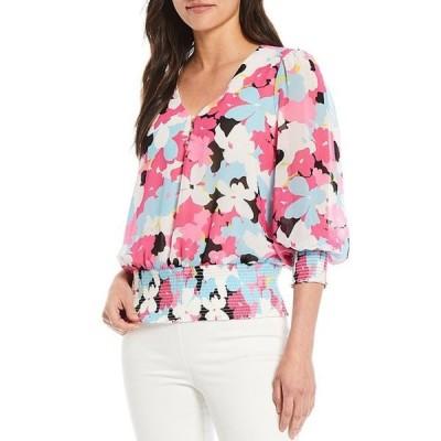 カルバンクライン レディース シャツ トップス Floral Print Chiffon V-Neck 3/4 Blouson Sleeve Peplum Blouse