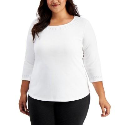 ケレンスコット カットソー トップス レディース Plus Size Embellished 3/4-Sleeve Cotton Top, Created for Macy's Bright White