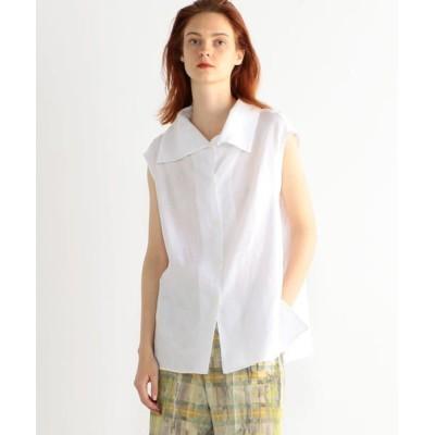TOMORROWLAND/トゥモローランド リネン ハイカラーフレンチスリーブシャツ 11 ホワイト S(9号)