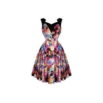 ハーツアンドローズロンドン ドレス ワンピース ハートs and ローズs London パープル フローラル バタフライ 50s ビンテージ Tea パーティ ドレス UK