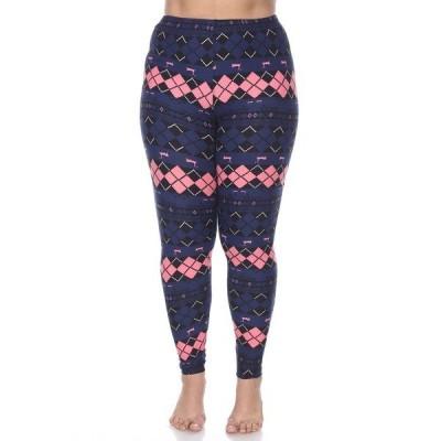 ホワイトマーク カジュアルパンツ ボトムス レディース Plus Size Argyle Print Leggings Navy Pink