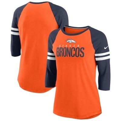 ナイキ レディース Tシャツ トップス Denver Broncos Nike Women's Sleeve Stripe 3/4 Sleeve Raglan Tri-Blend T-Shirt