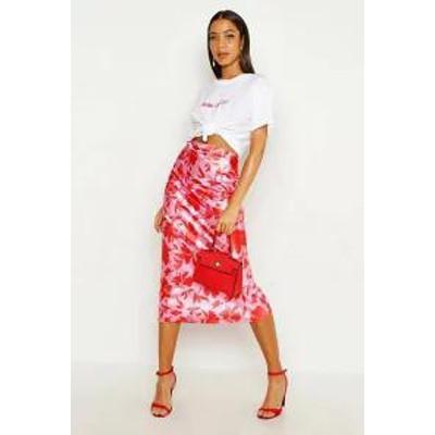 Boohoo レディーススカート Boohoo Vibrant Floral Satin Midaxi Skirt pink