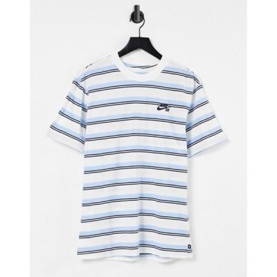 ナイキ メンズ シャツ トップス Nike SB stripe t-shirt in off white/navy