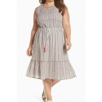 Shift  ファッション ドレス CASLON NEW White Ivory Blue Striped Smocked Midi 2X Plus Shift Dress