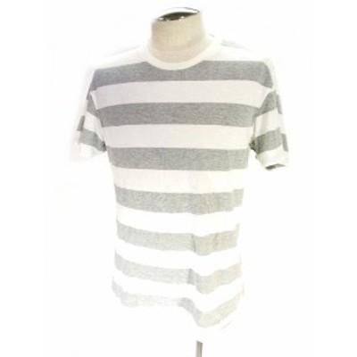 【中古】ユニクロ UNIQLO Tシャツ カットソー 半袖 クルーネック ボーダー ホワイト グレー M メンズ