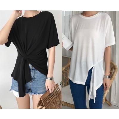 全2色 半袖Tシャツ アシンメトリー ラウンドネック 丸首 体型カバー 無地 シンプル カジュアル