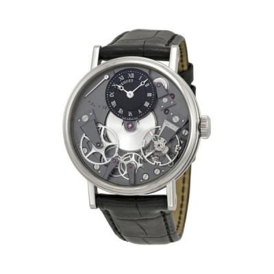ブレゲ Tradition ブラック スケルトン ダイヤル 18kt ホワイト ゴールド ブラック レザー メンズ 腕時計