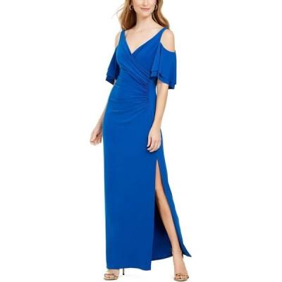 MSK レディース パーティードレス オフショルダー ワンピース・ドレス Cold-Shoulder Gown Neptune Blue