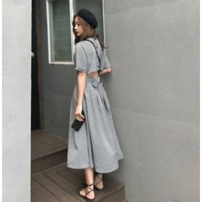 韓国 ファッション レディース ワンピース ロング チェック 背中見せ 後ろボタン リボン フレア 大きいサイズ リゾート 半袖 ガーリー