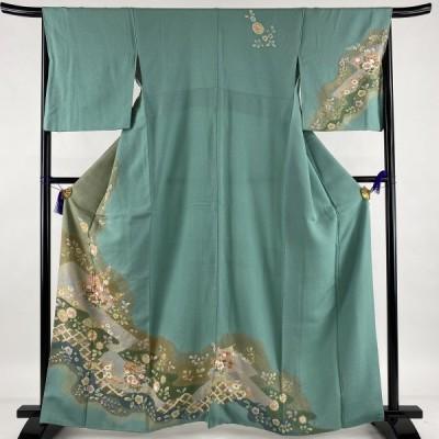 訪問着 美品 名品 誰が袖 草花 金彩 絞り 薄緑 袷 身丈164.5cm 裄丈67cm M 正絹 中古