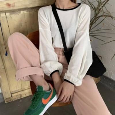 4色 パイピング ライト ニット ホワイト グリーン ピンク ブラック レディース ファッション 韓国 オルチャン