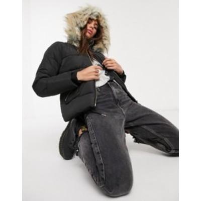 トップショップ レディース ジャケット・ブルゾン アウター Topshop puffer jacket in black Black