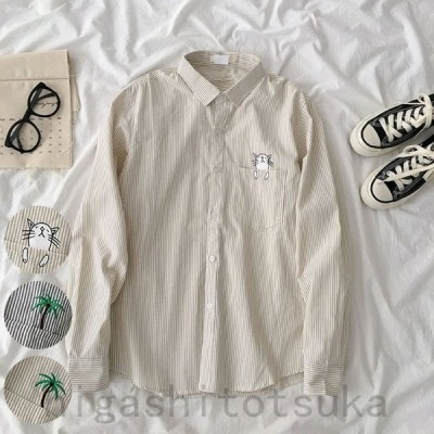 シャツ 長袖 レディース ブラウス ストライプ柄 長袖シャツ ゆったり 長袖ブラウス 刺繍柄 カジュアルシャツ 重ね着 ネコ柄 可愛い