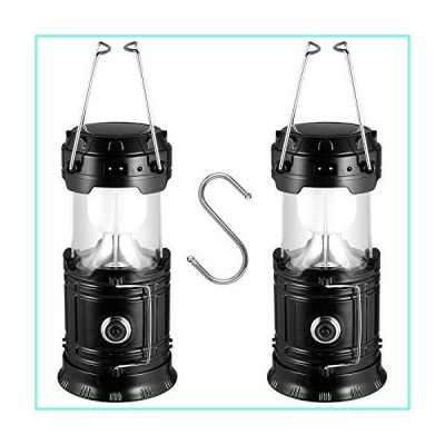 ZKMESI Solar Camping Lantern 2 Pack Solar Powered Flashlights LED Battery Lanterns with S Hook - USB Rechargeable Lights for Power Outage Hurricane Ad
