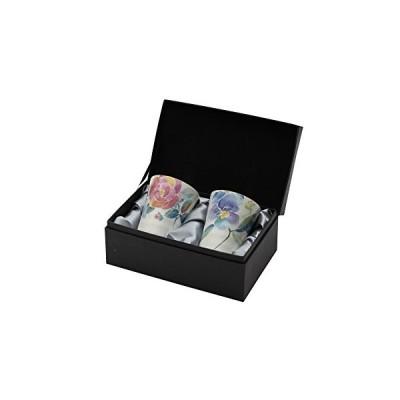 セラミック藍 花ことば ペアフリーカップ バラ/パンジー 布貼箱 01540