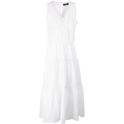 LAUREN RALPH LAUREN ロングワンピース&ドレス ホワイト 4 コットン 100% ロングワンピース&ドレス