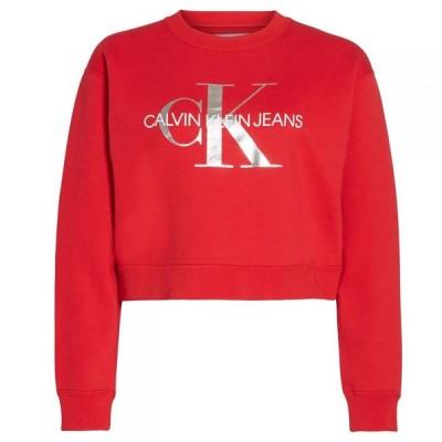 カルバンクライン Calvin Klein Jeans レディース スウェット・トレーナー クロップド トップス Mono Crop Sweatshirt Barbados