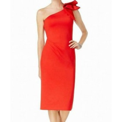 Betsy & Adam ベッツィアンドアダム ファッション ドレス Betsy & Adam Womens Dress Red Size 8 Sheath Ruffled One Shoulder