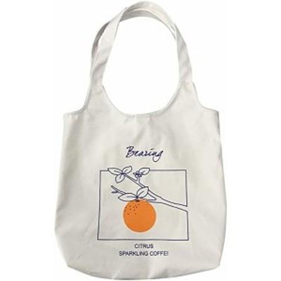 かわいいキャンバスバッグ トートバッグ 大容量 肩掛けバッグ 通学 出掛けバッグ ボタン付き 縦37cm×横36cm(オレンジ)