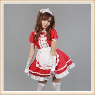 可愛いメイドさん 赤 コスプレ 衣装 コスチューム コスプレ衣装 セクシー ウエイトレス メイド服 ハロウィン クリスマス イベント