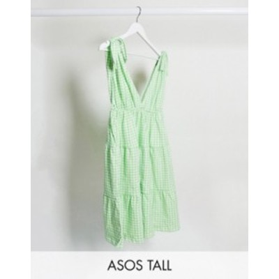 エイソス レディース ワンピース トップス ASOS DESIGN Tall mini sundress with tie detail straps in gingham print Green gingham