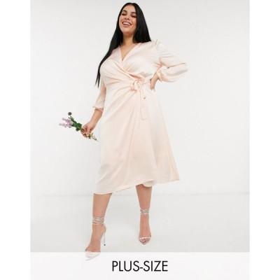ティーエフエヌシー ドレス 大きいサイズ レディース TFNC Plus bridesmaid satin long sleeve wrap front midi dress in light blush エイソス ASOS