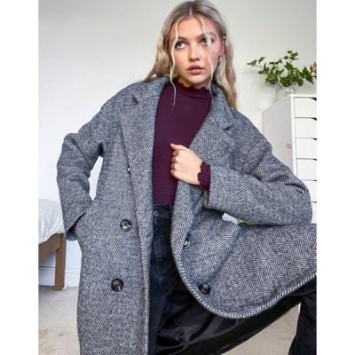 ニュールック レディース コート アウター New Look soft formal button detail coat in black