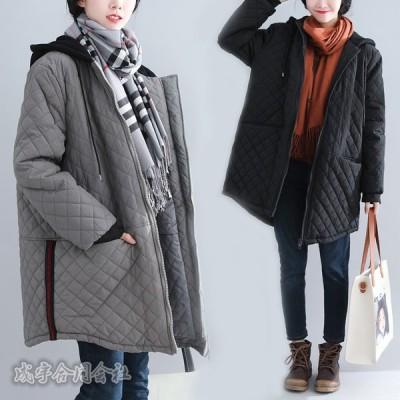 レディース キルティングコート 大きいサイズ 長袖 ロングコート ダウンコート 中綿コート ブルゾン 無地 ビッグシルエット ゆったり 防寒 フード付き 30代40代