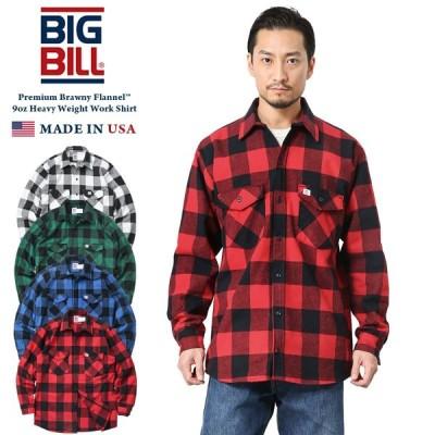 BIG BILL ビッグビル 121 L/S 9oz Premium Brawny Flannel ヘビーウェイト ワークシャツ バッファローチェック MADE IN USA メンズ アメカジ ネルシャツ