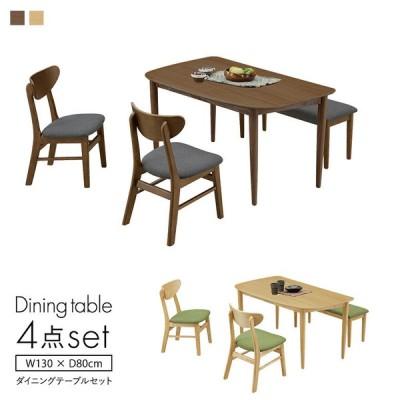 ダイニング4点セット 幅130cm ナチュラル ブラウン ダイニングテーブルセット 食卓セット 130変形テーブル ダイニングセット