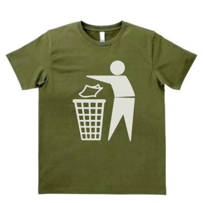 おもしろ パロディ バカ Tシャツ ゴミはゴミ箱に カーキー MLサイズ