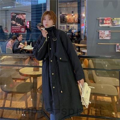 帽子付きロング丈ゆったりレディースワンサイズアウター秋冬裏ボアコートブルゾンダッフルカジュアルジャケット韓国風お洒落通勤起毛