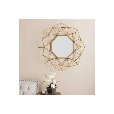 こだわり インテリア インポート アンティーク ミラー Geometric 3D Wall Mirror, Gold Pentagonal Sculptural Metal Web Frame, Inset Face