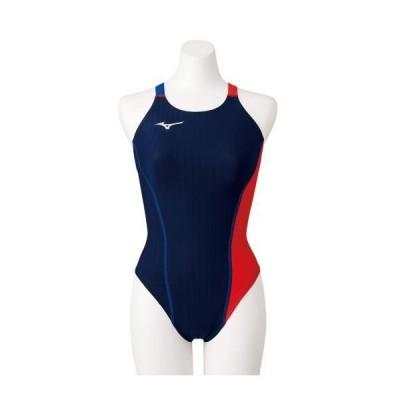 ミズノ公式 競泳練習用エクサースーツUP ミディアムカット レディース ネイビー×レッド
