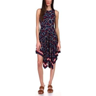 マイケル コース Michael Kors レディース ワンピース ワンピース・ドレス Printed Handkerchief-Hem Dress, Regular & Petite Sizes Midnight Blue Multi