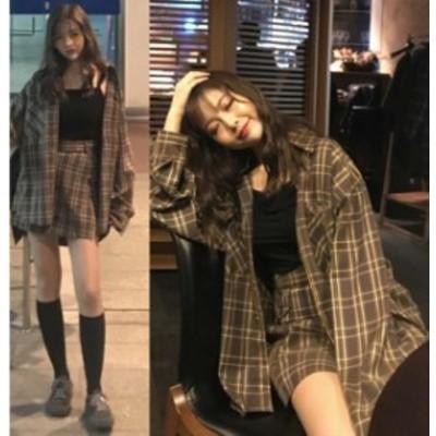 韓国 ファッション 春服 レディース チェック セットアップ レディース シャツジャケット ショートパンツ 上下セット 春 韓国 ファッショ