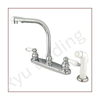 新品Kingston Brass KB711 Victorian High Arch Kitchen Faucet with Sprayer, Polished Chrome by Kingston Brass [並行輸入品]