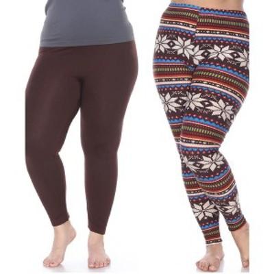 ホワイトマーク レディース カジュアルパンツ ボトムス Pack of 2 Plus Size Leggings Brown Brow