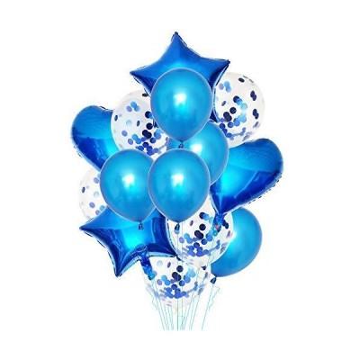 iYume 14個セット 風船 バルーンセット 誕生日 飾り付け 風船セット 紙吹雪バルーン アルミハートバルーン パー