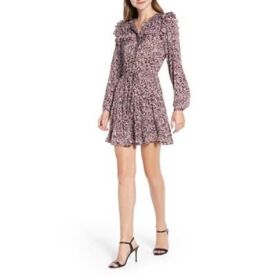 レベッカミンコフ レディース ワンピース トップス Selandra Disty Floral Ruffle Detail Dress CURRANT MU