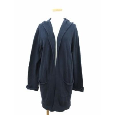 【中古】コーエン coen カーディガン ニット 羽織 ロング フード F 紺 ネイビー /hn1206 レディース