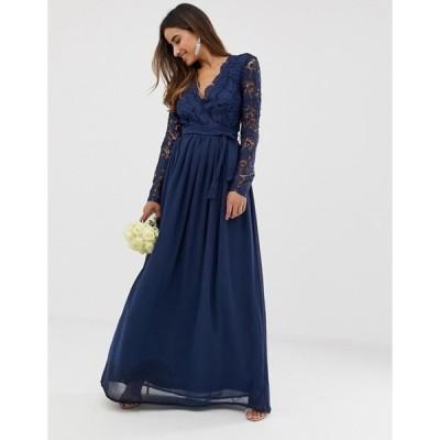 クラブエル ロンドン レディース ワンピース トップス Club L bridesmaid long sleeve crochet detail maxi dress