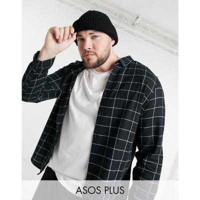 エイソス ASOS DESIGN メンズ シャツ トップス Plus Regular Check Shirt In Black ブラック