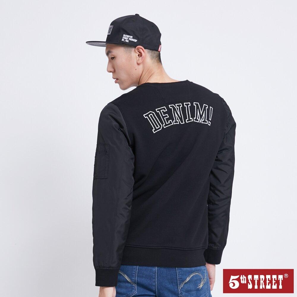 滿額送飲料袋 | 【5th STREET】中性款異素材LOGO厚長袖T恤-黑色