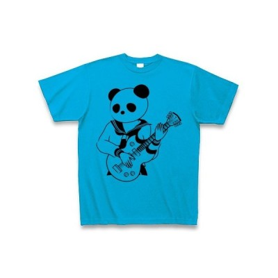 エレキギターと女子高生パンダ Tシャツ(ターコイズ)
